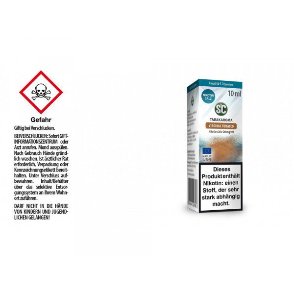 SC - Virginia Tobacco - E-Zigaretten Nikotinsalz Liquid - 20 mg/ml (10er Packung)