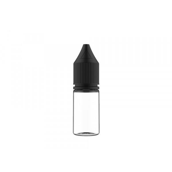 Flasche transp. + schwarzer Deckel